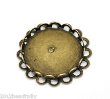 Wholesale NEW Bronze Tone Round Cabochon Frame Settings 25mm(Fit 20mm)