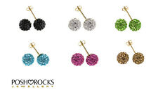 9ct Gold Crystal Glitter Ball Stud Earrings, 7mm, Gift Box Included.