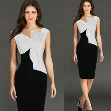 Womens Colorblock Bowknot Ruched Sexy V Neck Bodycon Business Party Pencil Dress