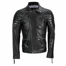 Mens New Black Real Leather Vintage Biker Style Zipped Smart Retro Casual Jacket