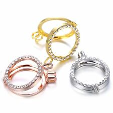 35MM Silver/Gold/Rose Gold Charms Crystal Floating Locket For Necklace No Chain