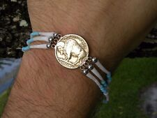 Native Indian Navajo good luck shells cuff bracelet  Buffalo Indian Nickel coins