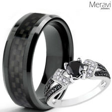 His Tungsten Black Carbon Fiber Her 925 Sterling Silver Wedding Ring Mens Womens