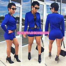 New Women Sexy 2PC Long  Sleeve Casual Short Pants Suit Jumpsuit Rompers