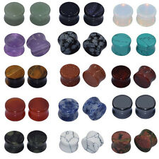 15 Pair Natural Mix Stone Flared Ear Gauges kit Flesh Tunnels Ear Plugs Expander