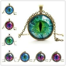 Unique Colored Dragon Cat Eye Glass Cabochon Plated Pendant Necklace