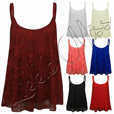 Women Floral Lace Summer Spaghetti Strap Ladies Swing Top T-Shirt Cami Vest 8-22