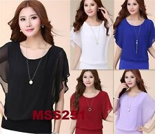 Ladies New Trend Over Size 2 in 1 Chiffon Ladies Blouse Batwing Tops Size 8-18