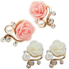 Women Ear Studs Earrings Pink/White Rose Flower Crystal Rhinestone Pearl Gift