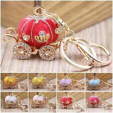 Newly Pumpkin Carriage Keyring Crystal Charm Pendant Purse Bag Key Chain Gift HY