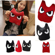 Women Lady Girl Devil Horns ear eyes Crochet Knit Winter Ski Beanie Hat Cap 117