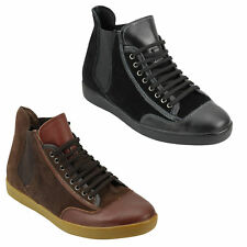 Mens Black Brown Suede & Leather High Top Designer Style Sneaker Trainers Shoes