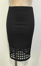 BLACK LASER CUT CASUAL PENCIL TUBE WIGGLE STRETCH MIDI SKIRT SIZE 8-20