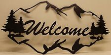 Mountains Welcome Sign Metal Wall Art Home Decor