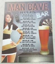10 Rules of the Man Cave metal sign 12.5 x 16