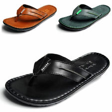 New Fashion Mens Casual Leather Summer Beach Sandals Flip-Flops Slippers Shoes