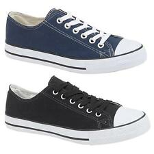 Mens Brand New Navy/Black Lace Up Plimsole Canvas Comfortable Summer Shoes 3 -12
