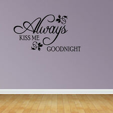 Wall Decal Quote Always Kiss Me Goodnight Nursery Sticker Decor Sign Wall Art