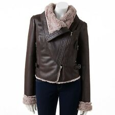 $100 Jennifer Lopez Faux-Suede Leather Fur Motorcycle Bomber Jacket BROWN~ Sz M