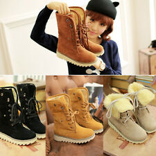 Fashion Women Winter Warm Boots Flat Lace Up Soft Inside Plus Size Warm Shoes