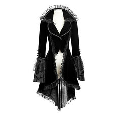 Punk Rave gothic Tailcoat jacket VTG Victorian Womens Black Velvet kera Coat y62