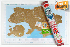 Detailed Scratch off Map of Ukraine with Stickers, Traveler Gift, Ukrainian