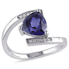 Sterling Silver Created Blue Sapphire and Diamond Accent Bypass Ring