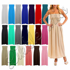 Womens Sheering Bandeau Ladies Boobtube Gather Strapless Summer Maxi Dress 8-22