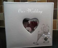 Ivory photo album in two sizes with glitter wine glasses and silver heart