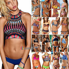 Women Boho Strapless Halter Thong Bandeau Bikini Set Swimwear Triangle Padded