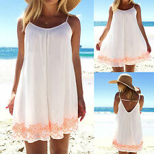 BOHO Womens Backless Vest Top Summer Beach Blouse T Shirt Mini Dress Sundress