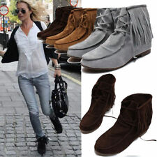 Womens Tassel Ankle Martin Boots Flats Matte Suede Lady Lace Up Moccasins Shoes
