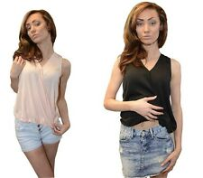 NEW WOMENS CHIFFON VEST TOP GIRLS WRAP SLEEVELESS VEST V NECK TOP UK