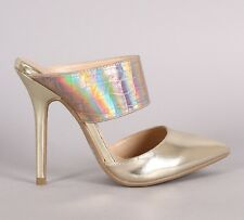 Womens Pointy Toe Stiletto Mule Pump Gold Hologram Iridescent Metallic High Heel