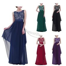 Womens Formal Long Maxi Chiffon V-back Party Evening Cocktail Wedding Prom Dress