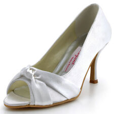 MM-014 Party Pumps Peep Toe High Heels Pleat Knot Satin Wedding Bridal Shoes