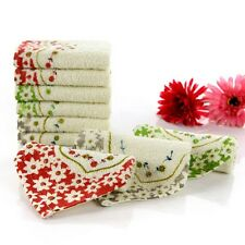 Kids Square Towel Absorbent Washcloth Cotton Handkerchief Floral Facecloth Wiper