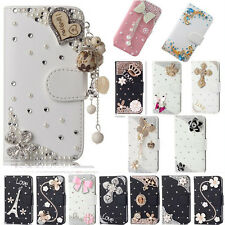 Bling Crystal Diamonds Pearls PU leather flip slots stand wallet case cover #Q1