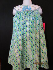 SMOCKED GREEN & BLUE POLKA DOT BISHOP W/ OCTOPUS AND SEA FISH CLAIRE & CHARLIE