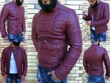 Street Ghetto Waisted tapered fitted Party Club Biker Rocker Leather Jacket