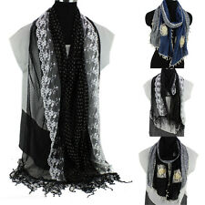 Fashion Womens 3D Flower Sequins Stitching Tassel Soft Long Scarf Wrap Shawl New