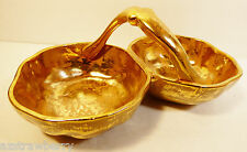 Stangl Pottery Granada hand painted Gold 3784 Double Candy Dish Bowl With Handle