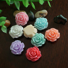 30pcs 7 Colors Resin Rose Flower flatback Appliques For DIY phone/craft New