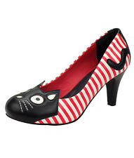 TUK Rockabilly Pin Up Gothic White Red Stripe Kitty High Heels Goth Punk A8557L
