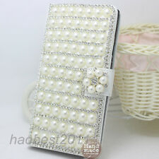 3D Shine Bling Crystal Diamonds Pearls flowers PU leather flip Case cover skin H