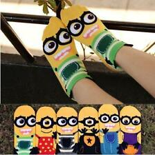 6-12 Pairs Women Cotton Ankle Casual No Show Cartoon Mark Minions Socks Low Cut