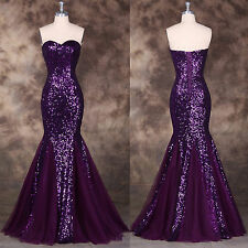 Luxury Sequins Wedding Long Bridesmaid Evening Formal Party Ball Gown Prom Dress