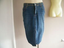 SALE JEANS WEST Essential Blue Denim Gold Studded Ladies Straight Skirt Size 7