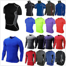 Mens Compression Baselayer T-Shirt Body Armour Thermal Under Skin Top Tight Gear