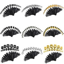 36pcs Gauges Kits Set Acrylic Tapers Stretcher + Stainless Steel Ear Tunnel Plug